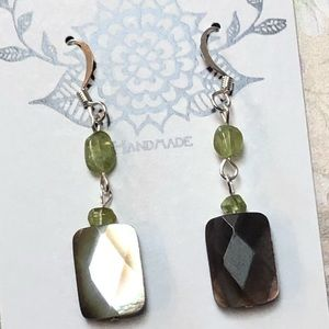 Casey Keith Design Jewelry - Black Mother of Pearl & Peridot Earrings